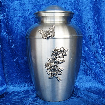Adult cremation urn rose & butterfly