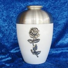 White/pewter rose Adult Cremation Urn
