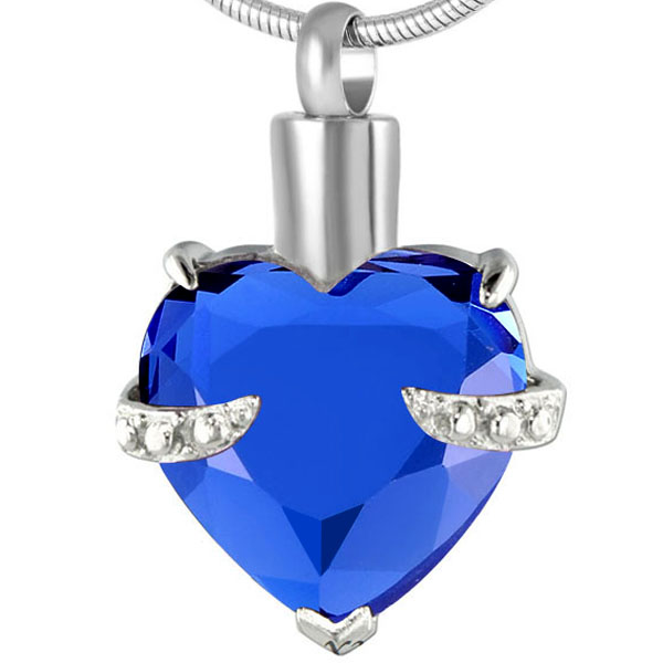 memorial cremation jewellery saphire heart