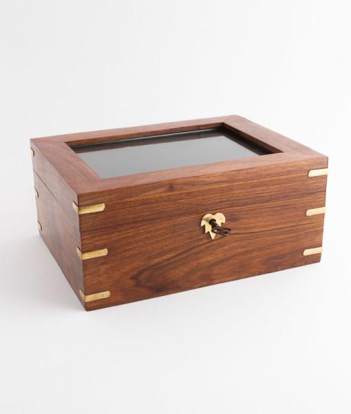 Timber brass trim photo urn