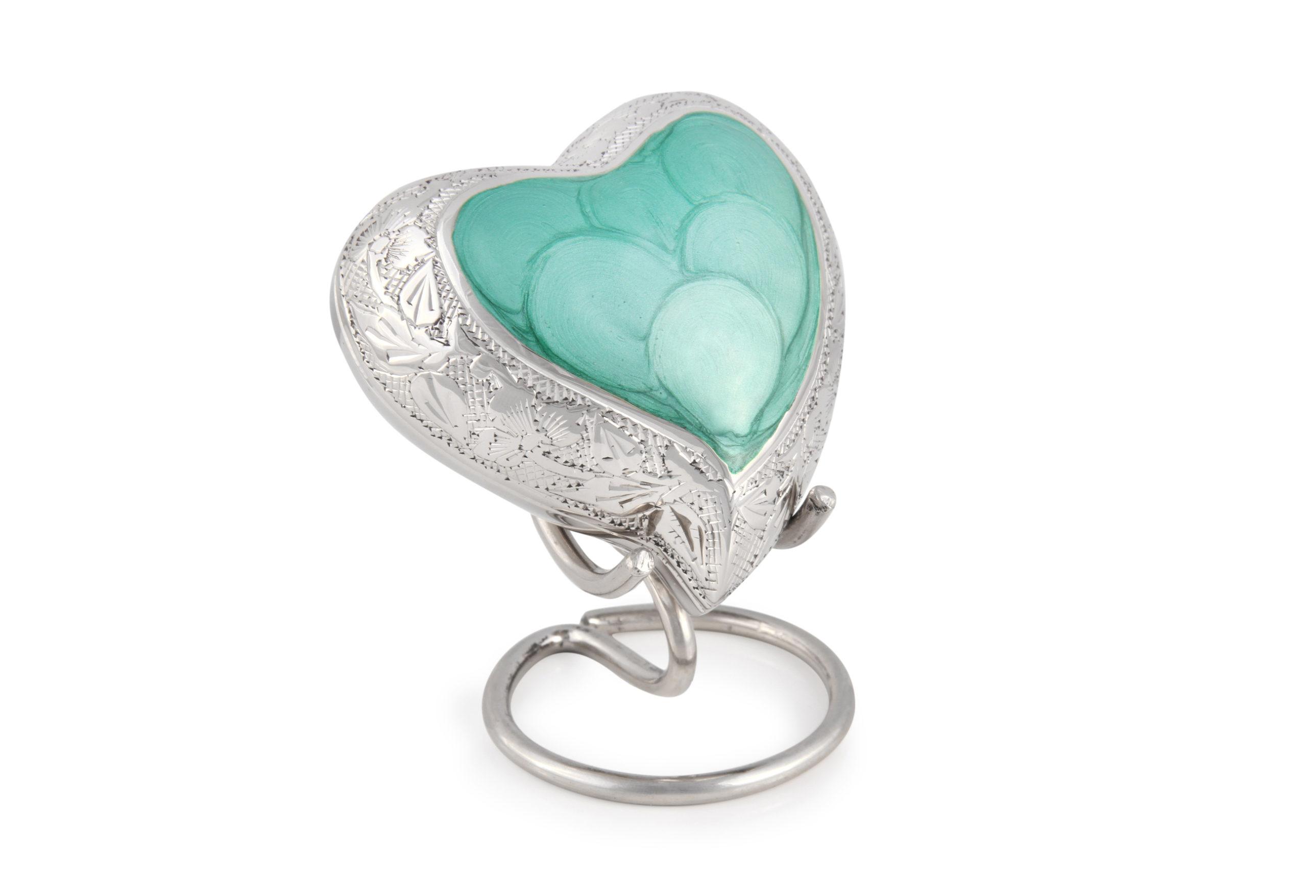 Baby Jade heart keepsake urn