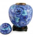 Floral Blue Floral Cloisonné Urn 2