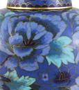 Floral Blue Floral Cloisonné Urn detail