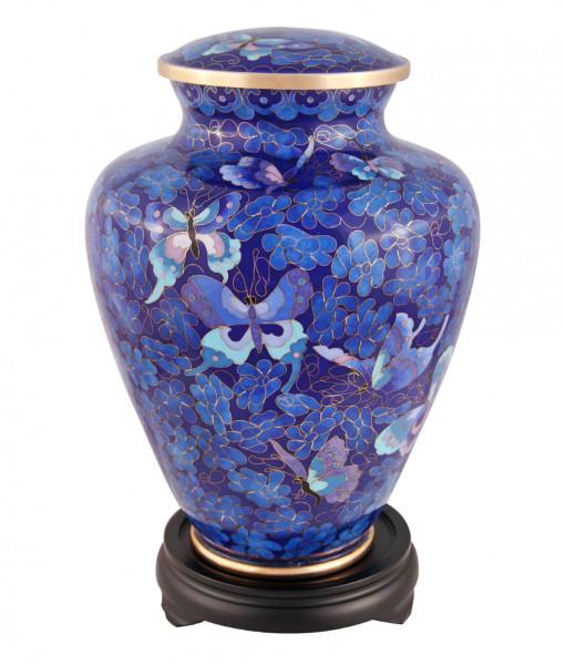 Floral Butterfly Blue Floral Cloisonné Urn