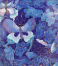 Floral Butterfly Blue Floral Cloisonné Urn detail