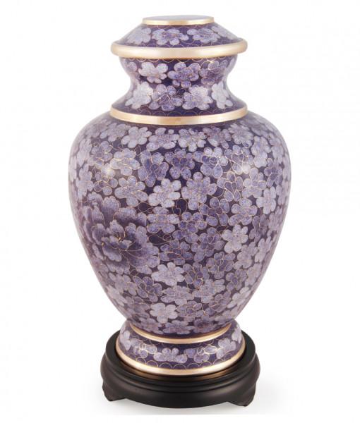 Lilac Floral Cloisonne Cremation Urn